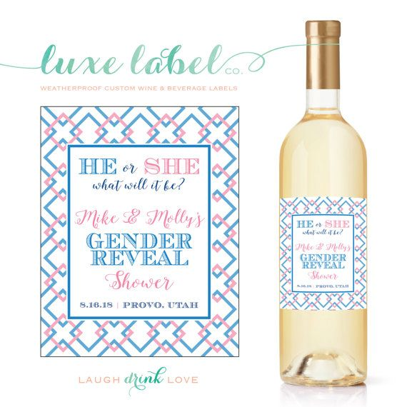 Pregnancy Announcement Custom Wine Labels  Gender by LuxeLabelCo