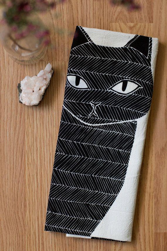 Black Cat Tea Towel, Printed with Eco Friendly Inks