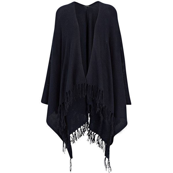 Joseph Spring Cashmere Poncho in NAVY (£355) ❤ liked on Polyvore featuring outerwear, jackets, navy, cashmere poncho and wrap poncho