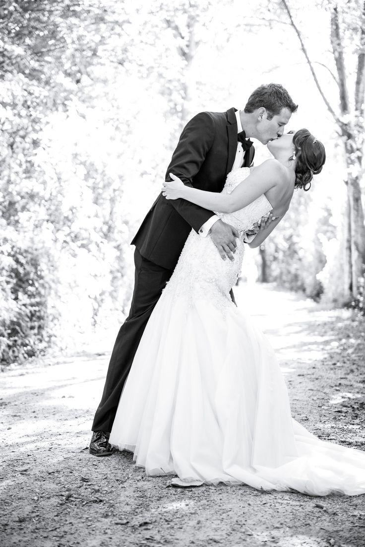 Bridal portrait Wedding Kiss- Deas Island Park black and white photography