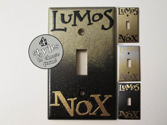 Lumos Nox Gold Standard Light Switch Plate - CHOOSE YOUR STYLE DeeplyDapper Spells on Etsy, $7.00
