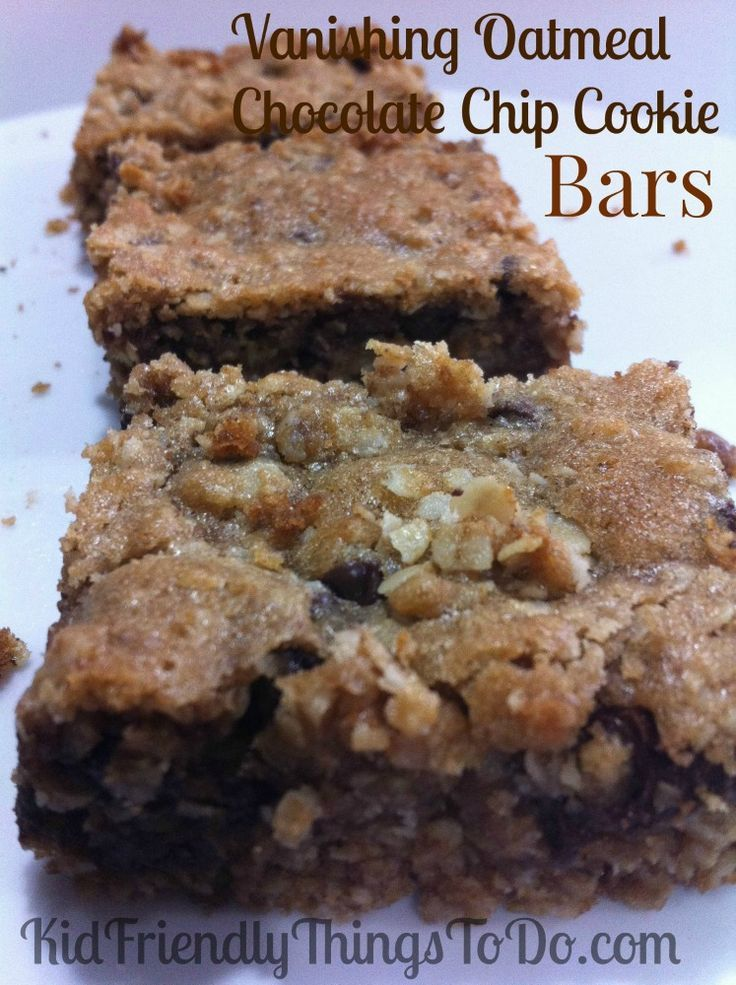 Vanishing Oatmeal Chocolate Chip Cookie Bars. My whole family loves this cookie bar recipe. Delicious! Perfect dessert for summer picnics, Memorial, Labor Day, and Fourth of July!