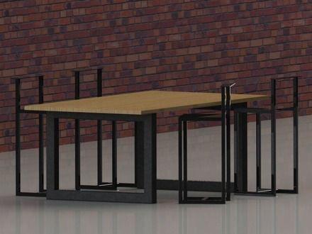 Véritable création en chaudronnerie. Confection de la structure en tubes de construction 80x80 et d'un plateau en chêne.  Art & Design, créations et réalisations sur mesure, - 10115049