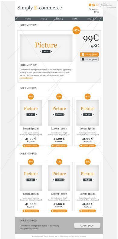 Ideal para e-commerce esta plantilla de newsletter en html incluye maqueta .psd, integración html / css y es compatible con los principales servidores de correo electrónico. Descubrela en: https://es.mailify.com/