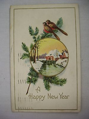 VINTAGE EMBOSSED NEW YEAR POSTCARD WINTER SCENE W/ TWO BIRDS & SPRUCE SPRIGS1913