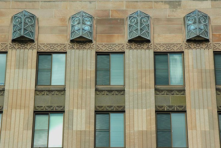 Art Deco ~ U.S.A.   External detail, Tenney Plaza, Madison, Wisconsin. Designed by Law, Law & Potter, 1929.