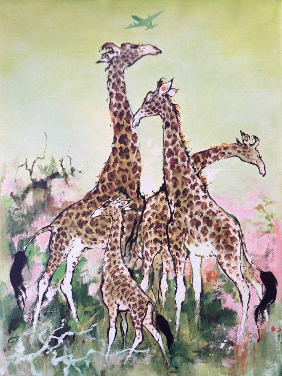 1955 SAS Airlines Poster AFRICA Giraffes  by OutofCopenhagen