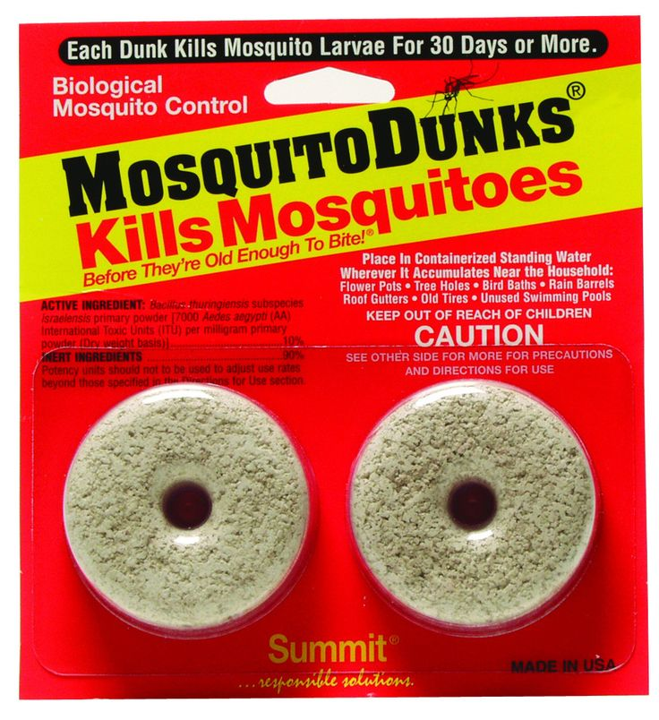 For ORGANIC production and gardening. Biological mosquito control. Each Dunk kills mosquito larvae for 30 days or more. Can be used in Fish Habitats. Place in containerized standing water wherever it