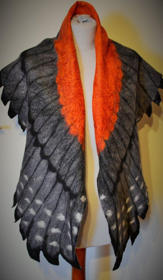 Wing BirdWingbird scarf felt felted silk handmade warm von CozyFelt