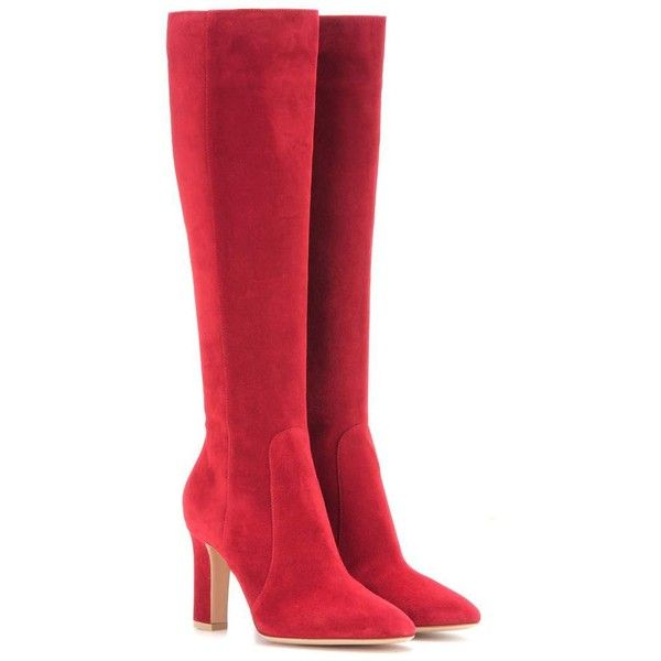 Gianvito Rossi Arlay 85 Suede Knee-High Boots (105,500 INR) ❤ liked on Polyvore featuring shoes, boots, red, обувь, gianvito rossi, suede leather boots, red suede boots, suede knee high boots and knee high boots