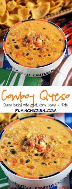 Cowboy Queso Recipe - Plain Chicken - queso dip loaded with meat, beans, Rotel and corn. Can make in the microwave or slow cooker. Great for tailgating!! I love this dip! We made it two weeks in a row. Would also be great served over rice. YUM!