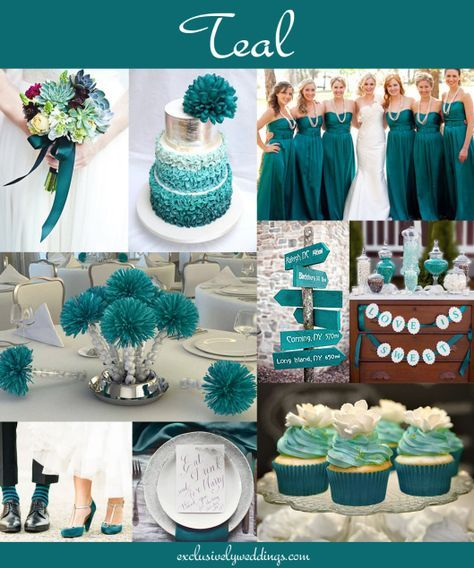"Teal Wedding ""Your Wedding Color: How to Choose Between Teal, Turquoise and Aqua"" - Read more: http://blog.exclusivelyweddings.com/2014/05/30/your-wedding-color-how-to-choose-between-teal-turquoise-and-aqua/"