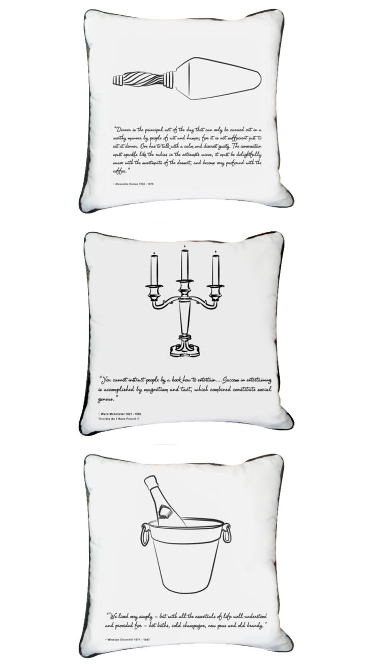 Our Feast Collection includes a range of 12 scatter cushions, each with unique individual quotes from the 18th Century! An ideal conversation starter! #scatter #cushion #white #quotes