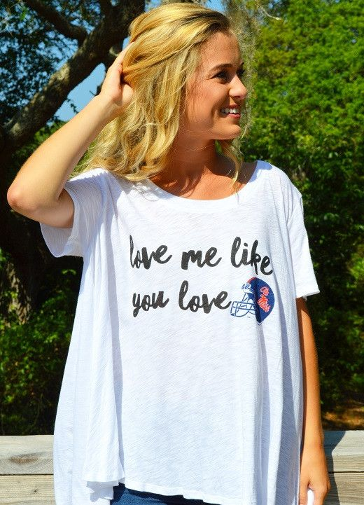 "Judith March University Of Mississippi - Flowy Tee W/ ""Love Me Like You Love Ole Miss Helmet"""