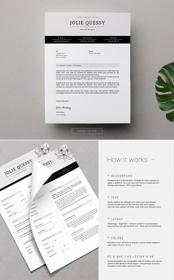 Feminine Resume Stylish Resume Template