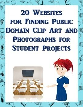 """FREE. First, what does it mean if a clip art or a photograph is """"in the public domain?"""" Typically, these works are not protected by copyright for any number of reasons and therefore are available for almost any use.   This brief collection of websites is intended as a starting point for students to utilize when finding images online or for the educator who needs clip art and photographs for digital presentations, social media, and/or handouts and worksheets."""