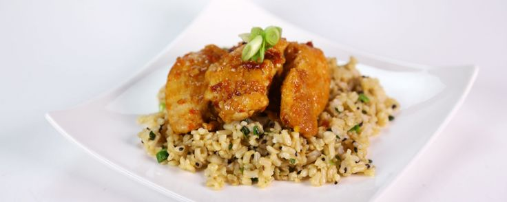 "Lightened-Up General Tso's Chicken with Scallion Brown Rice ~ Recipe from Daphne Oz on ""The Chew."""