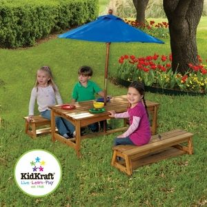 Table & Bench with Blue Umbrella by KidKraft