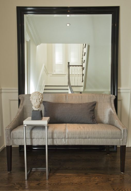 Silver Foyer Mirror : Large floor mirror behind furniture couch sofa settee