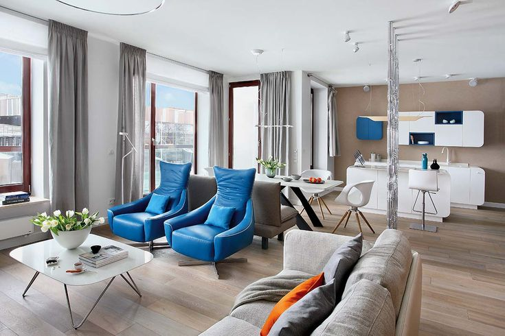 Nowoczesny salon w błękiciem Zdjęcia:Aneta Tryczyńska #salon #nowoczesny #styl #pomysły #aranżacja #inspiracje #room #home #house #ideas #sofa