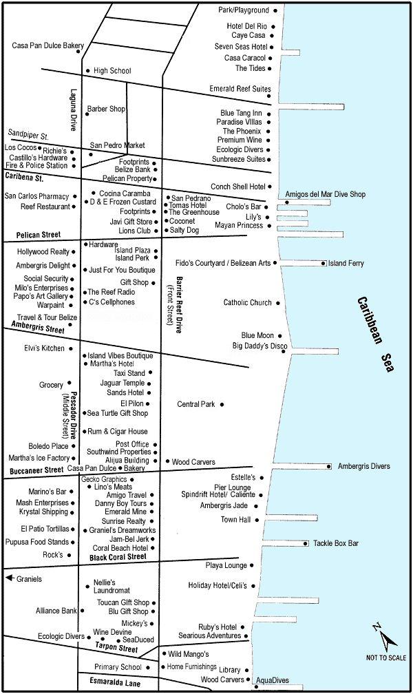 San Pedro Town, Belize Maps, Ambergris Caye