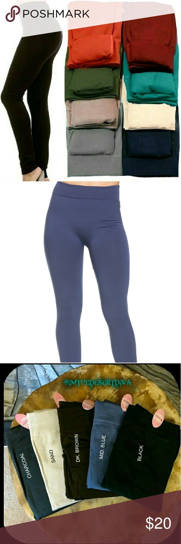 SALE!MID. BLUE Fleece Lined Leggings ONE SIZE FITS MOST(best fits S, M, L )  Super soft, very stretchy and stylish fleece leggings \ footless tights. Looks like a regular sleek legging but inside is soft and cozy fleece that is warm and comfy. Warmth and style without bulkiness. 65% Polyester, 20% Cotton, 15% Spandex.  Available in other listings: BLACK, CHARCOAL, DK. BROWN, WINE & SAND.  Price Firm Unless Bundled No Trades ✔️10% Discount on bundles of 2+ ✔️Gift with purchase of 3+ Leggings…