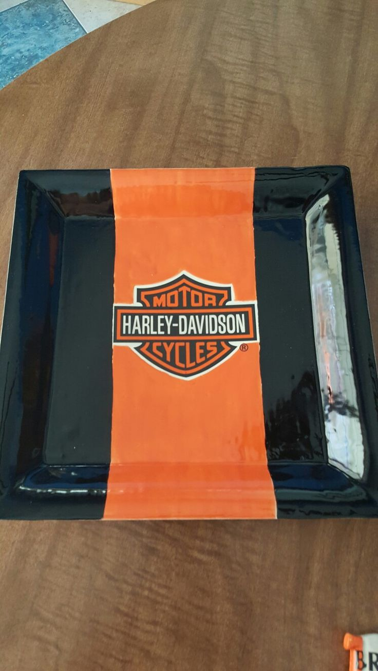 HARLEY DAVIDSON  CERAMIC BLACK AND ORANGE PLATE