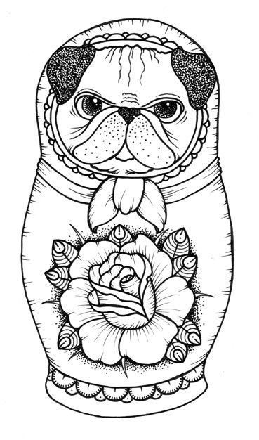 60 best coloring pugs images on Pinterest  Coloring books Pugs