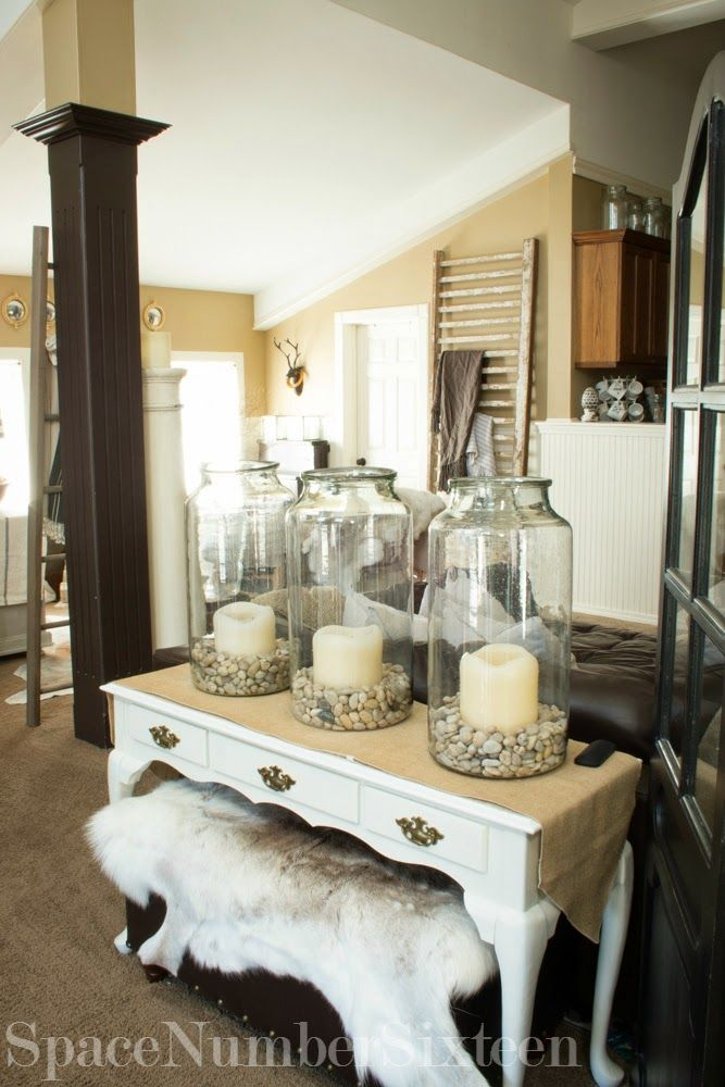 Large canning jars, mason jars, antique pickle jars Space Number Sixteen: Fall Home Tour