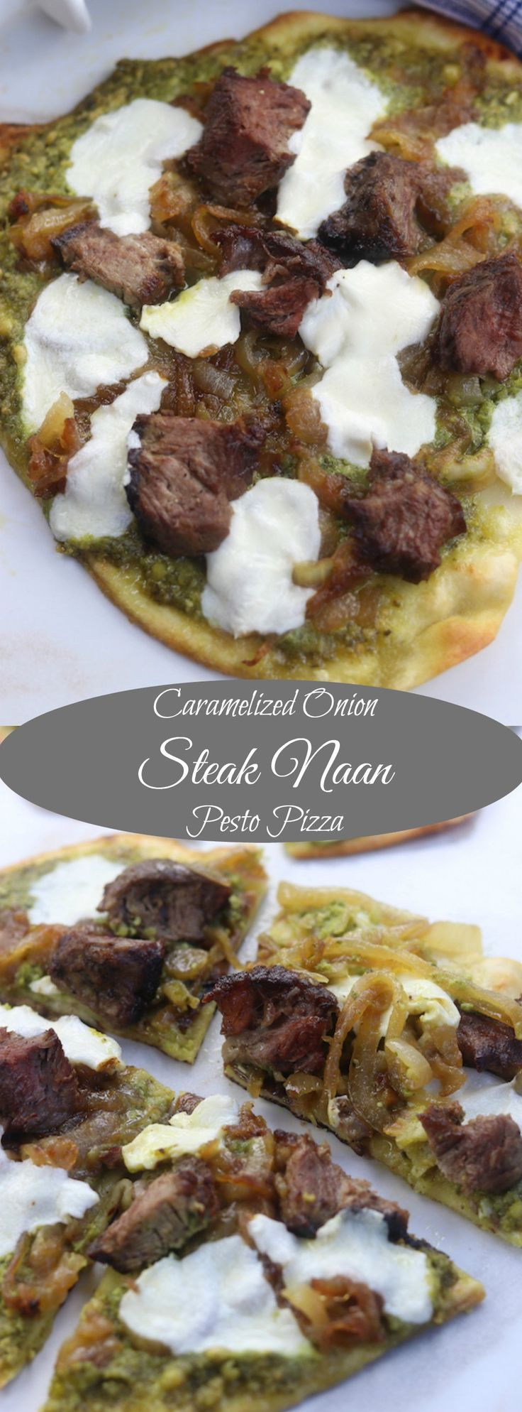 Caramelized Onion Steak Naan Pesto Pizza recipe- an easy and delicious meal for those who love steak and pizza. My family is hooked on these. http://www.thefedupfoodie.com