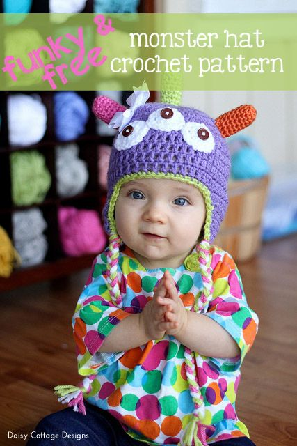 Funky & Free Monster Hat Pattern from Daisy Cottage Designs #freecrochetpattern #monsterparty