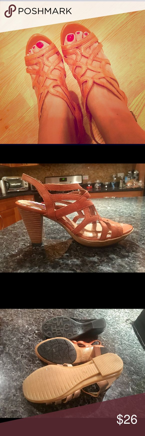 SALE THRU MONDAY! Orange heeled sandals by Clarks Love these strappy, orange, comfy heels by Clark's. Perfect for the end of summer going into fall. Goes with skirts, dresses, shorts, and capris. Great cushioning and high quality! Clarks Shoes Heels