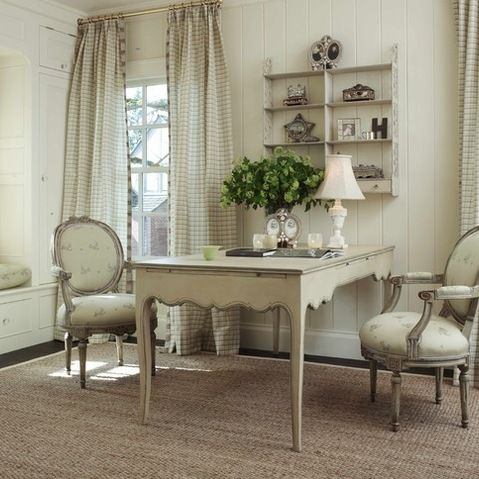 """French country combining French provincial furniture with a more rugged look and the built in window seat"""