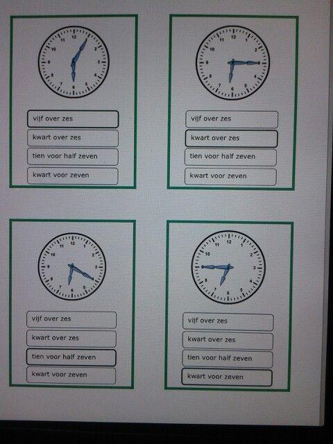 Kwartet klokkijken hele, halve uren, kwartieren en minuten. Te downloaden van digischool.