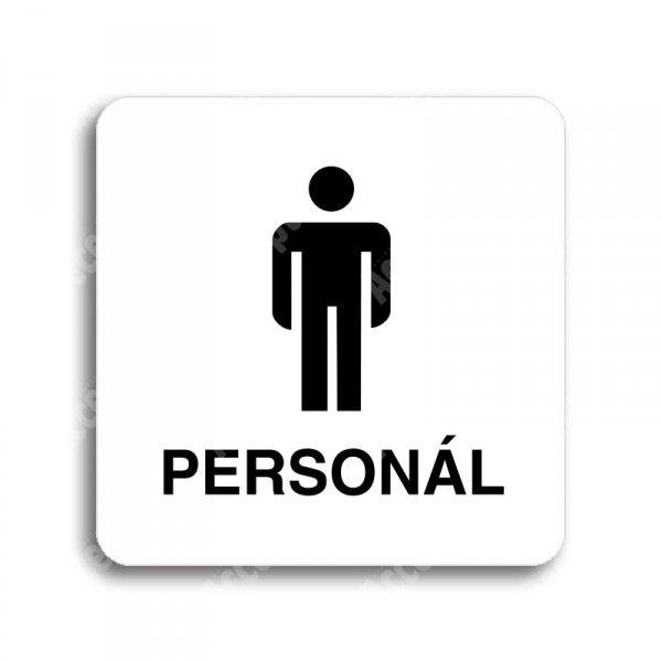 "Piktogram ""WC muži personál"" - bílá tabulka - černý tisk bez rámečku"