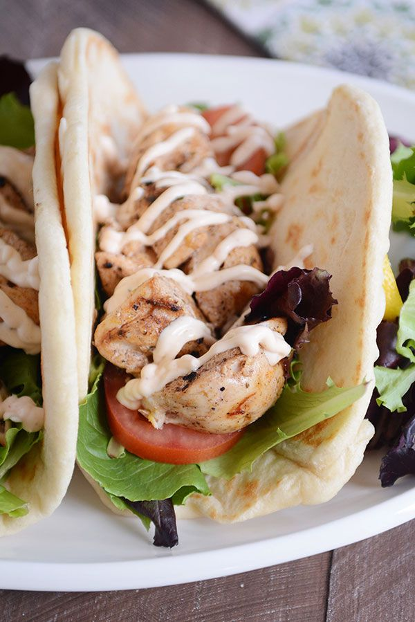 Grilled Lemon Chicken Wraps with Spicy Garlic Sauce