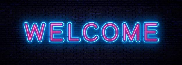 Beautiful Vector Neon Inscription Welcome Neon Social Media Icons Facebook Cover Photos