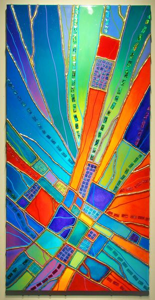 Robert Paul Art Glass Galleries. Replicate this as a painting?  use raised silver paint somehow for lead lines.... or gild the glue lines with real gold foil...... hmmmm.....