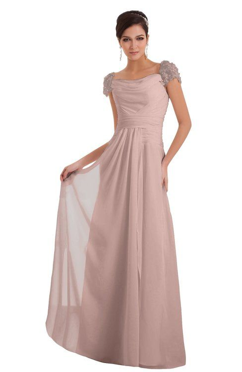 723483e6749 ColsBM Carlee Dusty Rose Elegant A-line Wide Square Short Sleeve Appliques Bridesmaid  Dresses