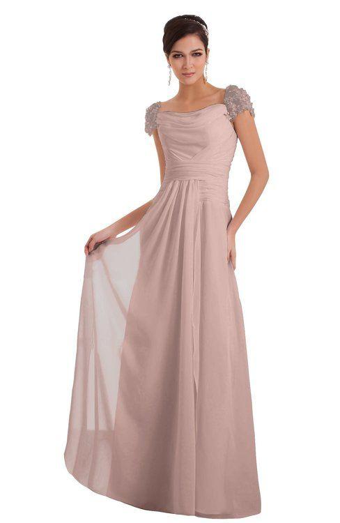 f00e2c7e0c7d ColsBM Carlee Dusty Rose Elegant A-line Wide Square Short Sleeve Appliques Bridesmaid  Dresses