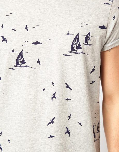 Asos Tshirt with All Over Nautical Print in Gray for Men (greymarl) - Lyst