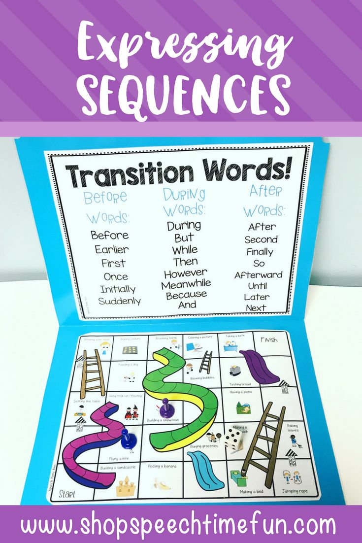 Expressing Sequences Worksheets and Activities. Work on sequencing in speech using these no prep and low prep fun printables and games.