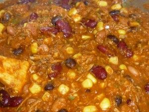 """Tomato Free Chili....""""I make a tomato free chili too! :) I use beef broth as a base with a little (not a lot) of corn starch to thicken it, then I let it simmer with all the other ingredients in a slow cooker (I use a lot more beans though) and nobody knows the difference! :)"""" .....perhaps thicken with potatoes or sweet potatoes instead of beans..."""