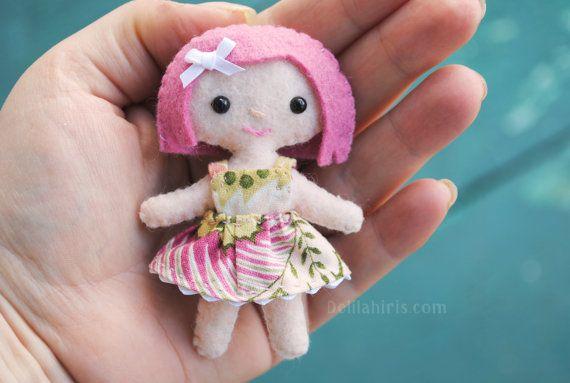 Tiny 3.5 inch felt doll. Miniature pocket doll with gift box.