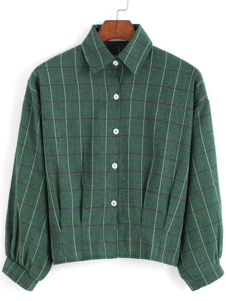 Green Lapel Checks Plaid Buttons Crop Blouse