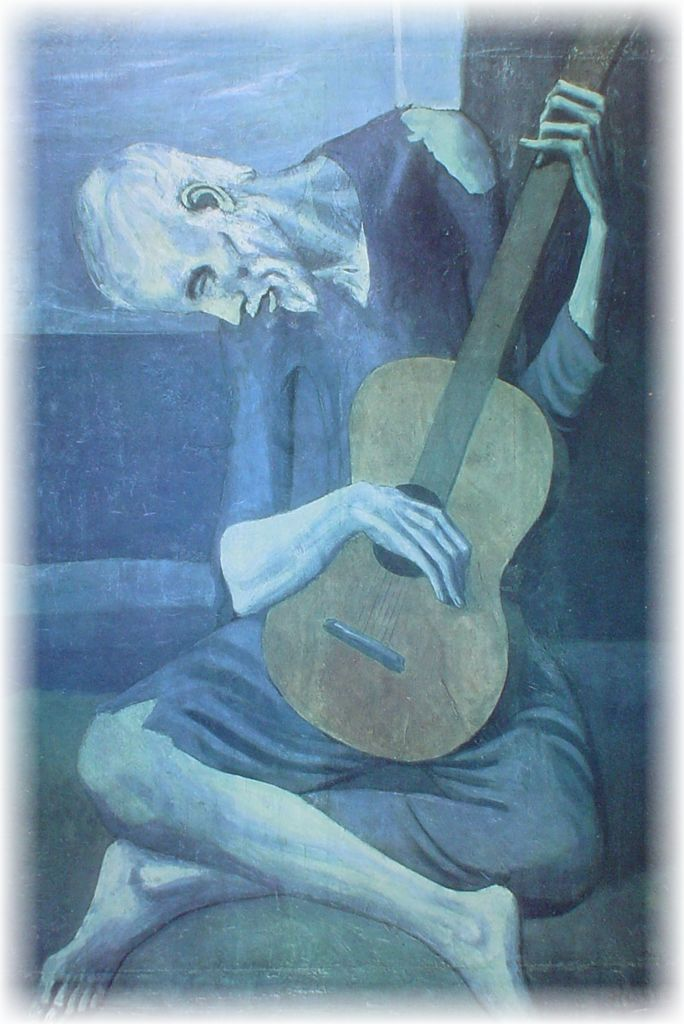 """""""The Old Guitarist"""" (1903) by Pablo Picasso"""