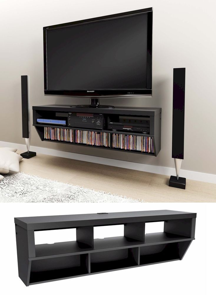 58 Wall Mounted Entertainment Console Lcdled Tv Stand Wav Shelves