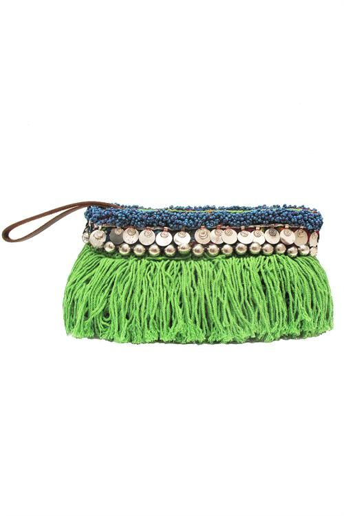 Elliot Mann / Indie Pouch spring green    This clutch is the perfect size for all your essentials, complete with a full zip closure and two interior pockets. The coin and fringe detail is uniquely Elliot Mann and is sure to add style to any look. Who knew so much fun could come in such a small package?   Each belt detail is reclaimed vintage and will vary from the one pictured.