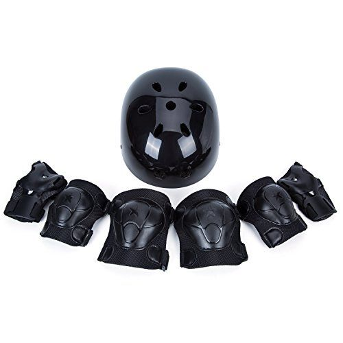 Department This protective gear set is specially designed to offer you perfect protection for skateboard, roller blading, kick scooter, professional street dance helmet, turn head helmet, skiing, rollerblade, fancy bike, drifting bike and other extreme outdoor sports... more details available at https://perfect-gifts.bestselleroutlets.com/gifts-for-babies/kids-bikes-accessories/product-review-for-sunvp-kids-adjustable-helmets-with-7-pieces-protective-gear-set-toddler-children