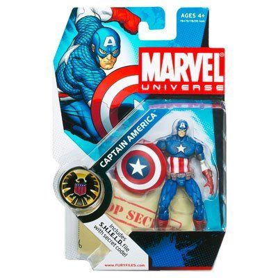 "Marvel Universe 3 3/4"" Series 2 Action Figure Captain America (Ultimate) by Hasbro. $24.98. Comes with a weapon accessory and a S.H.I.E.L.D. file with secret code. Marvel Universe 3 3/4"" action figure from Hasbro. For Ages 4 & Up. Captain America is figure #12 from Marvel Universe Series 1. Highly detailed and articulated 3-3/4 inch scale action figures based on the heroes and villains of the Marvel Comics universe. The Marvel Universe series of figures debuted in 2009."